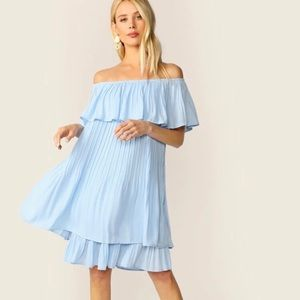 Flounce Foldover Front Layered Pleated Dress